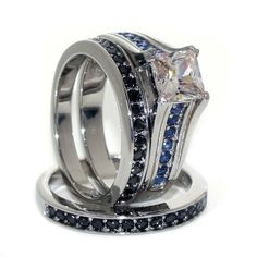 Thin Blue Line Women's Engagement Ring Set Stainless Steel CZ Princess – ThinRedBlueLine