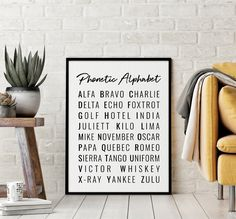 Phonetic Alphabet Printable Art, Typography Art Poster, Phonetic Alphabet Sign, Motivational Art, Office Wall Art *INSTANT DOWNLOAD* Alphabet Signs, Phonetic Alphabet, Bathroom Prints, Bathroom Art, Office Wall Art, Office Walls, Printing Websites, Online Printing, Quote Prints