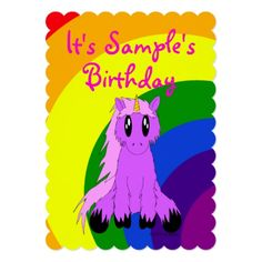 Shop Cute Unicorn Rainbow Birthday Invitation (Pink) created by SoaringDreams.