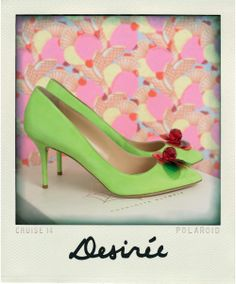 DESIRÉE | CRUISE 14 |  Desirée are a beautiful and elegant pump featuring a colourful cherry accessory on eye-popping sour apple suede. The perfect balance of sweet and sour adds an injection of colour to add to your wardrobe.
