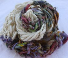 Hand Knit Scarf in Ivory and Multi Color Handspun by bpenatzer, $92.00