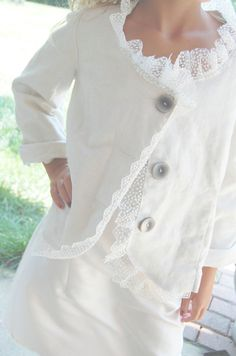 upcycled linen | Upcycled Clothing Linen Jacket Blazer Sale White MEDIUM Of Linen and ...
