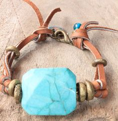 Pretty Boho Leather bracelet with big by DazzlingDivaJewels, $61.00  Designed & Created by Patrice