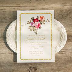 bohemian floral foil pressed wedding invitations EWFI003
