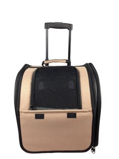 Amazon.com : Pet Life Airline Approved Wheeled Travel Pet Carrier with Side Pouch and Leash Holder, Brown : Pet Supplies Travel Pet Laggage Bag $58.56