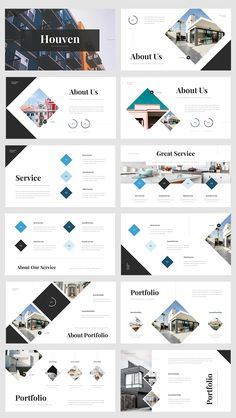 Real Estate PowerPoint Template - Total Slides - The most creative designs Best Presentation Templates, Simple Powerpoint Templates, Presentation Layout, Poster Presentation Template, Flyer Template, Poster Layout, Web Design, Design Layouts, Design Ideas