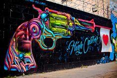 """High Caliber"" Art by Vyalone . Photography by toddwshaffer, via Flickr #graffiti #streetart"