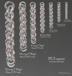 Pind weave size comparison chart for different ring sizes based on 20 rings.Jens Pind weave size comparison chart for different ring sizes based on 20 rings. Jewelry Crafts, Jewelry Art, Jewelry Design, Metal Jewelry, Beaded Jewelry, Chainmail Patterns, Chainmaille Bracelet, Homemade Jewelry, Wire Weaving
