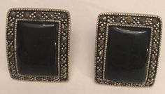 Judith Jack Sterling Silver Earrings Onyx Marcasite Signed Square Post   eBay
