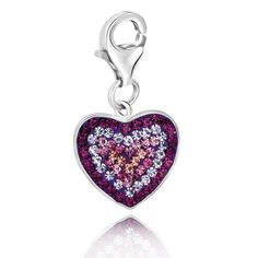 Sterling Silver Heart Charm with Purple Peach and Lavender Tone Crystals