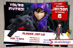 Disney Big Hero 6 Birthday Invitations - Big Hero 6 - Movie Party