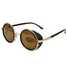 6589ac1c60 Ucspai Crosswalk Sidecups Steampunk Sunglasses Gold Frame with Brown  Reflective Lens