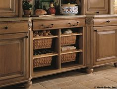 pull-out wicker baskets for fruits and veggies in kitchen