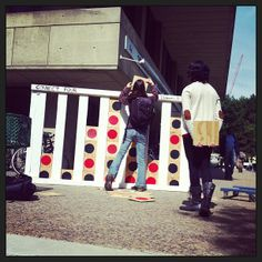 Giant Connect Four outside the Stratton Student Center. #MIT