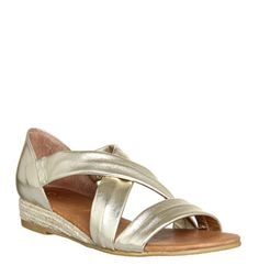 Office, Hallie Cross Strap Espadrilles, Gold Metallic Leather