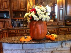 "Cut out a "" Fun-kin"" from Hobby Lobby. Easy and can set a vase of fresh flowers in it for a Fall centerpiece ."