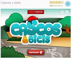 """""""Cascos & bicis"""", de la Fundación Mapfre, es un juego que promueve el uso del casco en los niños para montar en bicicleta. Se trata de poner el casco a todos los ciclistas que aparezcan en pantalla tocando su cabeza con el ratón. A la misma vez se practica el uso del ratón por los más pequeños."""