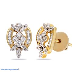 This is a unique and easy to wear set of stud earrings. It offers a warm, golden glow that won't go unnoticed. Do not miss this. #diamond #earring #studs http://www.shashvatjewels.com/ProductDetail.aspx?prdid=560&name=Elegant+Stud+Earrings All our designs are available in white gold and silver also..!!
