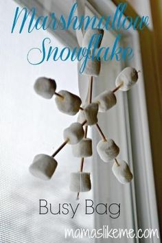 Marshmallow Snowflake Busy Bag - an easy fine motor #winter activity for kids. #preschool by edna