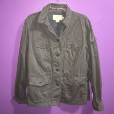 A light jacket it's sorta baggy and good condition Used a few times, it's a thin jacket has few pockets on the front and one around the forearm. J. Crew Jackets & Coats Utility Jackets