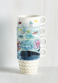 Door's Always Ocean Mug Set. Youre always down to host friends, and the first thing you do is offer them a drink from out of one of these ceramic mugs. #multi #modcloth