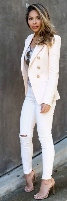 #Street #Fashion | Nude Blazer, Grey Tee, White Ripped Denim, Nude Sandals | Life With Me