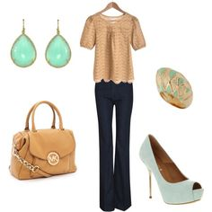 Mint/Tan, created by jmk0345 on Polyvore