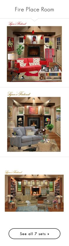 """""""Fire Place Room"""" by lynnspinterest ❤ liked on Polyvore featuring interior, interiors, interior design, home, home decor, interior decorating, BARONI, Z-Lite, Threshold and Hearts Attic"""