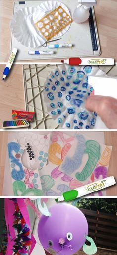 Tus globos de acuerdo a la ocasión. Mira lo que puedes lograr añadiendo un poco de agua a tus colores pastel, después pinta y arma tus globos con la forma que quieras.