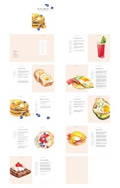 This is a cookbook Juliette Kim designed and illustrated for typography 2 class at Rhode Island School of Design (RISD). illustration The Art of Brunch Recipe Book Design, Cookbook Design, Cookbook Template, Cafe Menu Design, Restaurant Menu Design, Restaurant Identity, Restaurant Restaurant, Food Graphic Design, Food Menu Design