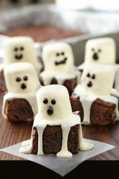 Spooky Boo Brownies - these turned out well! Remember next time to put the foil in the pan. I used my regular brownie recipe. Also, used a dab of frosting to hold the marshmallow in place. I put each one on a cupcake liner to catch drips and for serving.