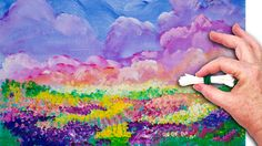 No Brushes Colorful sky and field of Flowers painted in acrylic step by step with Q-tips and sponges. On Youtube The Art sherpa www.theartsherpa.com