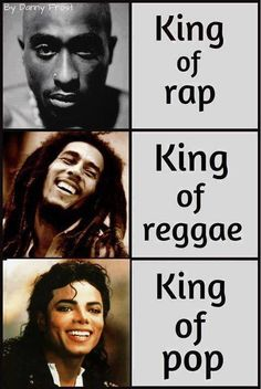 Tupac-king of rap; Bob Marley-king of reggae; Michael Jackson-king of pop Tupac-king of rap; Bob Marley-king of reggae; Michael Jackson-king of pop Arte Do Hip Hop, Jazz, The Jacksons, Tupac Shakur, Hip Hop Rap, Music Icon, Bob Marley, Music Is Life, Hiphop