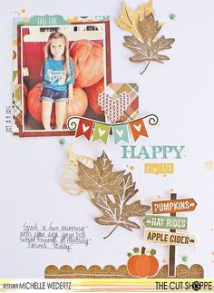 """The Cut Shoppe & Simple Stories Team Up! Happy Fall by Michelle Wedertz uses """"Leaf it to Me"""" cut file from The Cut Shoppe."""