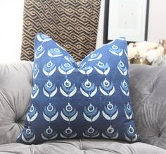 Indigo Blue and White Block Print Floral Pillow Cover