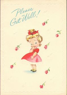 Vintage Get Well Card Sweet Young Woman Pink by VintageAdLady, $5.95