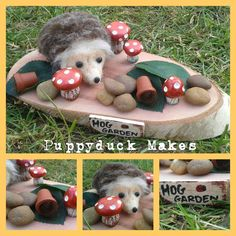 Mini Hedgehog Woodland Scene 'Hog Garden' 22cm by PuppyduckMakes on Etsy