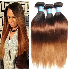 KLAIYI Ombre Hair Extensions Brazilian Hair 3 Bundles 16 16 18Inch Remy Straight Hair 3 Tone 1b427 Real Human Hair Weave Pack of 3 *** You can find more details by visiting the image link.