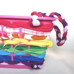 No Sew Scrap Fabric Basket tutorial (we store dolly clothes in ours, make her closet look so cute!)