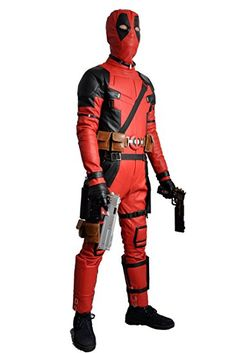 2f921f661a 2015 Movie Deadpool Wade Wilson Superhero Red and Black PU Jumpsuits Cosplay  Costume For Adult For Halloween Carnival Christmas (Male L)  Amazon.co.uk   Toys ...