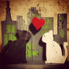 cats in love in NY (#pallets #wood #recycle #recycling #3d)