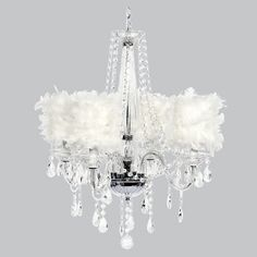 Ohh La la Chandelier with white Feather Shades