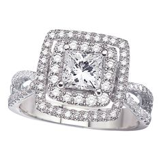 White gold double halo princess cut diamond engagement ring!