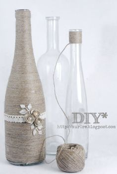 cute craft idea: old bottles wrapped in twine Bottles Twine Bottles, Old Bottles, Glass Bottles, Wrapped Wine Bottles, Beer Bottles, Vintage Bottles, Yarn Bottles, Reuse Wine Bottles, Empty Liquor Bottles