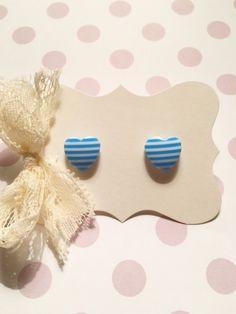 Blue Stripes Heart Studs Earrings by strawberriesncreamm on Etsy