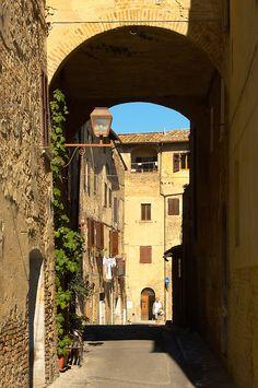Medieval along street - San Gimignano - Italy