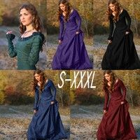 5737d43a878f Wish   5 Colors Vintage Retro Women Medieval Linen Dress Cosplay Costume  Princess Renaissance Gothic Dress