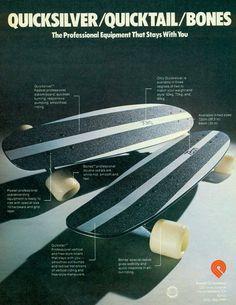 Modelo Quicksilver de Bones fabricado en aluminio a finales de los 70 principios de los 80. Todavía guardamos los catálogos. #Bones #Oldschool #Caribbean Old School Skateboards, Vintage Skateboards, Cool Skateboards, Skate And Destroy, Z Boys, Skate Art, Skateboard Decks, Surfing, Ads