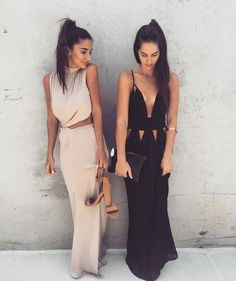 Beige and black maxi/slip dresses with cutouts details on waist