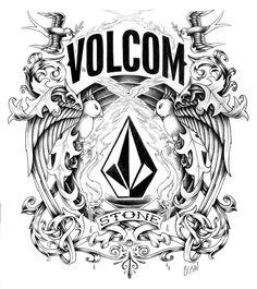 volcom graphic with logo pencil pen sketch